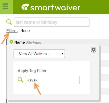Using Filter Link to Group Tagged Waivers
