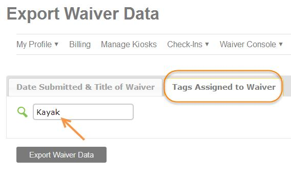 Exporting a Tagged Waiver