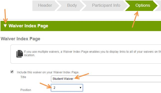 Waiver Index Page